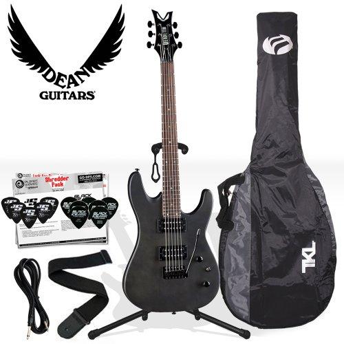 Dean Vendetta XM with Tremolo (VNXMT-TBKS), Transparent Black Satin Electric Guitar Kit - Includes: Guitar Cable, Strap, Stand, Planet Waves 12-Pick Shredder Pack & TKL Gig Bag