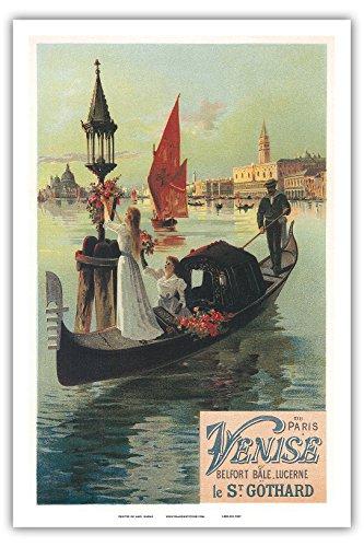 """De Paris A Venise Par Saint Gothard (From Paris To Venice By St Gotthard Pass), Italy - Gondolas, Gondolieri - Art Nouveau - La Belle Époque- """"Les Maitres De L'Affiche""""- Art Deco- Vintage French Advertising Poster By Hugo F. D'Alési Ca. 1897 - Master Art"""