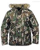 Kangol Mens Camo Parka Jacket Ripstop Fabric Padded Lined Fur Hooded Winter Coat