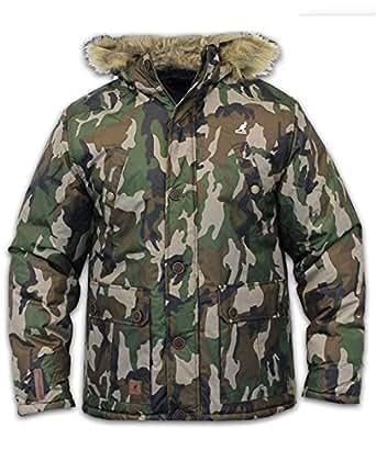 Kangol Mens Camo Parka Jacket Ripstop Fabric Padded Lined