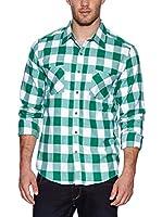 Urban Classics Camisa Hombre (Verde / Blanco)