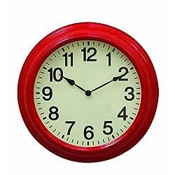 Creative Co-Op Urban homestead Round Metal Wall Clock, 16-Inch, Red