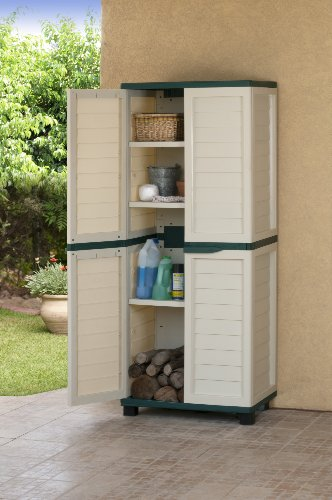 Plastic Storage Utility Cabinet Chest Shed & 3 Shelves 75 x 50 x 180cm