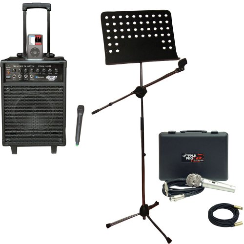 Pyle Speaker, Mic, Cable And Stand Package - Pwma940Bti 600 Watts Vhf Wireless Portable Pa System W/Microphone,I-Pod Dock & Bluetooth - Pdmik4 Dynamic Microphone With Carry Case - Pmsm9 Heavy Duty Tripod Microphone And Music Note Stand - Ppmcl30 30Ft. Sym