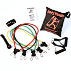 Body-Bands Resistance Tubing Band Set #3C, with Reinforced Carabiner End Connectors (Set of 5 Bands)