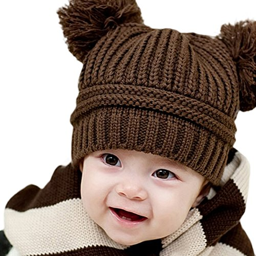 Lovely Baby Girls Boys Kids Knitted Sweater Cap Winter Warm Hat (Coffee) front-971385