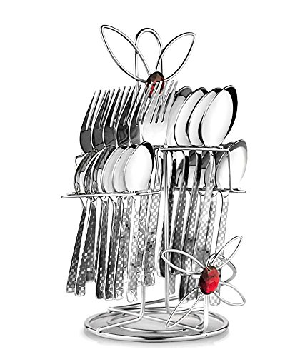 POG Myra Stainless Steel Cutlery Set With Stand 24 Pcs