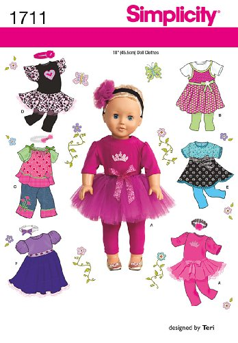 Check Out This Simplicity 1711 18-Inch Doll Clothes Sewing Pattern, Size OS (One Size)