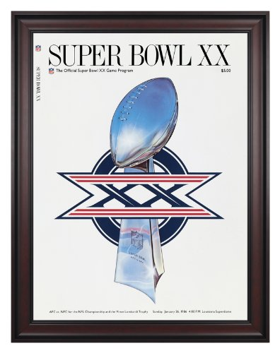 "1986 Bears Vs Patriots 36"" X 48"" Framed Canvas Super Bowl Xx Program - Mounted Memories Certified - Original Nfl Art And Prints"