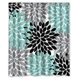 """Black Grey Green Dahlia floral Pattern Polyester Waterproof Shower Curtains 60"""" x 72"""""""