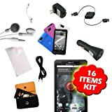 New Droid Accessory Kit (16 items) for New Motorola Droid X Droid X2 Xtreme MB810 Wireless Cell Phone - includes 4 Stylish High quality TPU skin cases, Droid X Car and Home Charger, Droid X Headset, Droid X AUX Cable, Droid X Screen Protector, Droid X USB Data cable, Droid X Audio Splitter