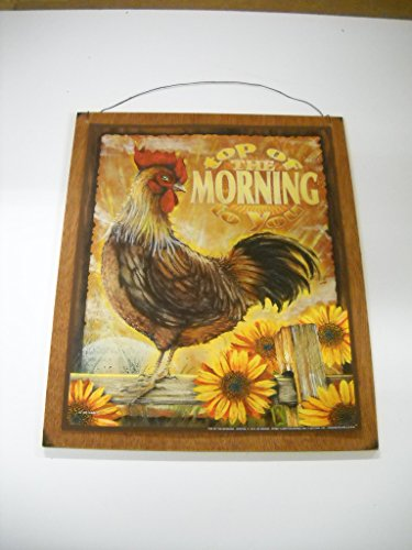 Top of the morning rooster sunflowers kitchen wooden wall - Rooster wall decor kitchen ...