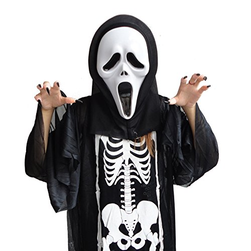ZOEREA Ghost Face Scary Scream Mask Halloween Masquerade Masks Costumes White