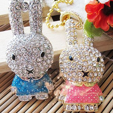 8GB Cute Rabbit Jewellery Jewelry USB Flash Pen Drive Disk Memory with Simulated DIAMOND Crystals -Ideal Great Gift (1x PINK) from Ricco
