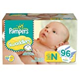 Pampers Swaddlers, Size Newborn (Up to 10 Lbs.), 96 Count.
