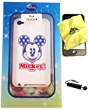 BUKIT CELL Disney ® Mickey Mouse (Mickey USA) Flexible TPU SKIN Protector Case Cover for Apple iPod Touch 4th Generation (Itouch 4 4G) 8GB 16GB 32GB + Free WirelessGeeks247 Metallic Detachable Touch Screen STYLUS PEN with Anti Dust Plug