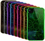9 x Premium Flexible TPU Skins / Cases / Covers for Apple iPhone 4 / 4G / 4S / 4GS / AT&T & Verizon - Black Clear Purple Blue Hot Pink Red Orange Yellow Green - Amzer Circle Pattern - The Friendly Swede Microfiber Cleaning Cloth Included