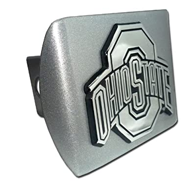 "Ohio State University Buckeyes ""Brushed Silver with Chrome ""O"" Ohio State Emblem"" NCAA College Sports Metal Trailer Hitch Cover Fits 2 Inch Auto Car Truck Receiver"