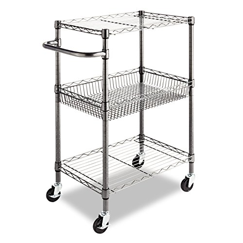 Alera 3-Tier Wire Rolling Cart, 16 by 26 by 39-Inch, Black Anthracite (Kitchen Rolling Cart compare prices)