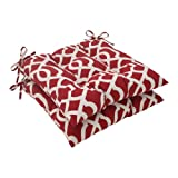 Pillow Perfect Indoor/Outdoor New Geo Tufted Seat Cushion, Red, Set of 2