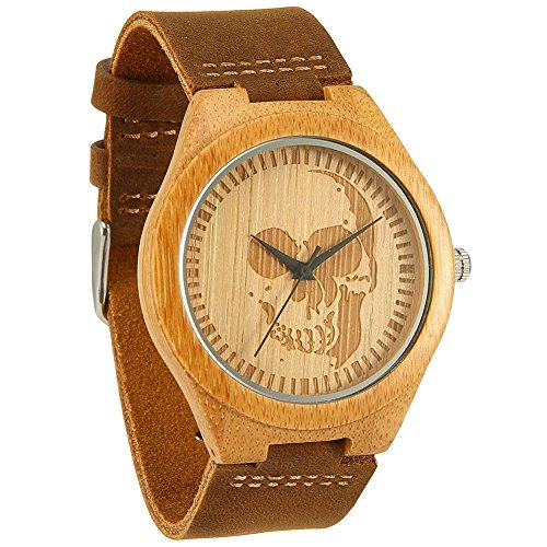 Wonbee Bamboo Wood Watches for Men & Women Cowhide Leather Strap,Bonus 2 Wood Bracelets,Packaged in Gift Box (Amazon Prime Watches compare prices)