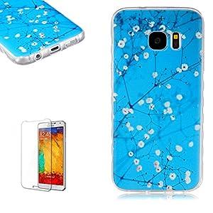 Samsung Galaxy S7 Coque [Samsung Galaxy S7 Gratuit Protecteur D'écran],Funyye Etui de Protection caoutchouc en Ultra Slim Souple Gel Silicone TPU Bumper Coque pour Samsung Galaxy S7 - fleur rose