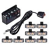 8X Amber 2-LED Strobe Light Bar Warning Emergency Beacon 10 Flashing Modes Car SUV Truck Van