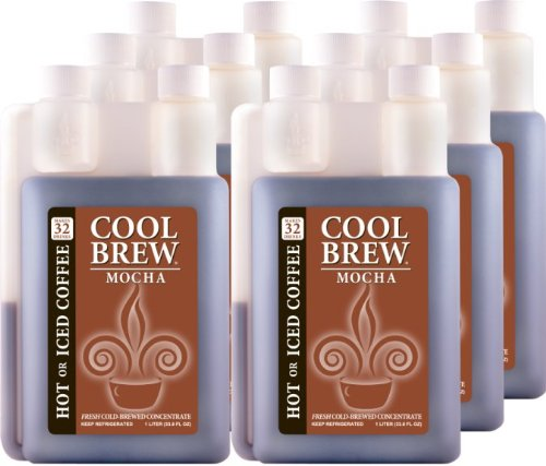 Cool Brew® Fresh Coffee Concentrate - Mocha 6X1 Liter - Make Iced Coffee Or Hot Coffee - Enough For Over 200 Drinks
