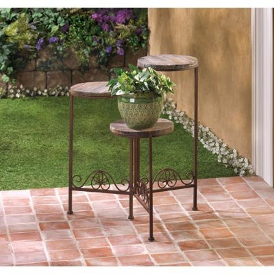 Garden Planters Wooden Iron Multi Tiered Plant Stand Indoor Outdoor Home Corner Decorative Ornament