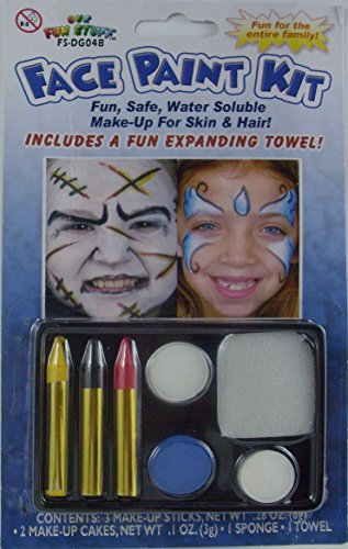 [Halloween 5-Color Face Painting Kits - Fun Safe Water Soluble Make-Up For Skin And Hair] (Face Pirate Makeup)