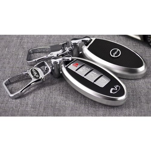 Saibon Protective Hard Aluminum Shell Key Fob Remote Entry Case Cover for Infiniti (Silver) (Infiniti Qx56 Accessories compare prices)