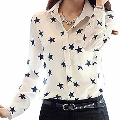 Women Chiffon Tops Star Print Long Sleeve Lapel White OL Shirts Blouse Chemises