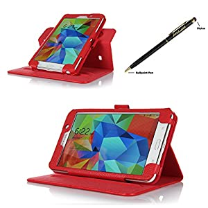 ProCase Samsung Galaxy Tab 4 7.0 Dual View Case (horizontal and vertical display) - Rotating Stand Folio Cover Case for 7 inch Galaxy Tab 4 (2014 released) with Corner Protected, and bonus Stylus Pen (Red) from ProCase