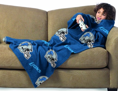 Detroit Lions Youth Comfy Throw Blanket with Sleeves