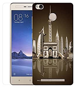 Indiashopers Combo of Beautifull Architecture HD UV Printed Mobile Back Cover and Tempered Glass For Xiaomi Redmi Note 3S Prime