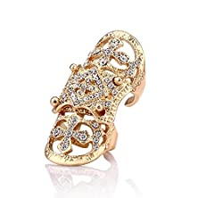 buy Evbea® White Gold Plated Vintage Bling Punk Knuckle Rings Beautiful Crystal Cross Full Finger Ring (Yellow)