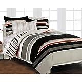 Nautical Stripe Gray Comforter Set with 180 TC Sheet Set