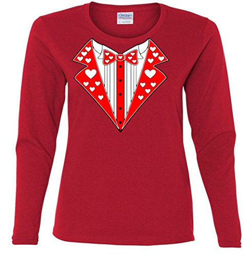 Valentine's Day Heart Tuxedo Ladies Missy Fit long sleeve T-Shirt