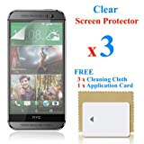 3 X Clear LCD Screen Protector Film Foil Cover Guard for New HTC One M8 2014 + Cleaning Cloth & Application Card