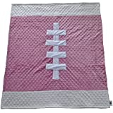"Cozy Wozy Football Themed Minky Baby Blanket, Pink/White, 30"" X 36"""