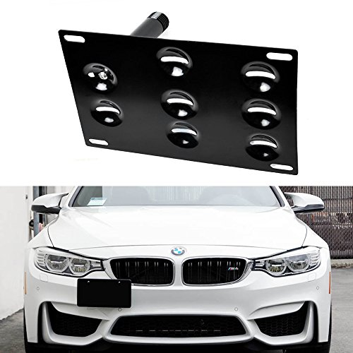 iJDMTOY Front Bumper Tow Hole Adapter License Plate Mounting Bracket For BMW F22 F30 F32 F10 F25 F26 F15 2 3 4 5 Series i3 X1 X3 Z4 and MINI Cooper, etc (Bmw License Plate Frame 3 Series compare prices)