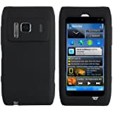Theo&Cleo Black Rubber Silicone Gel Skin Soft Phone Case Cover Combo For Nokia N8 New
