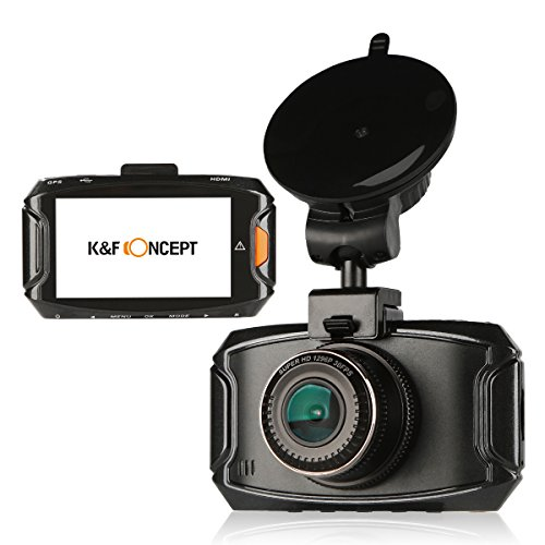 "Driving Camera, K&F Concept Ambarella A7 GPS 2.7"" Super HD 1296P 4M Pixels Driving Camera Black Box with GPS Logger, Night Vision, G-Sensor, Loop Recording, Motion Detection, 170 Degree Ultra Wide Angle Lens, Lane Departure Warning Function"