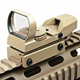 "Global Sportsman Tactical TAN Multi 4 Reticle Red Dot Open Tubeless Reflex Scope Sight Adjustable Brightness with Weaver-Picatinny 7/8"" Rail Mount"