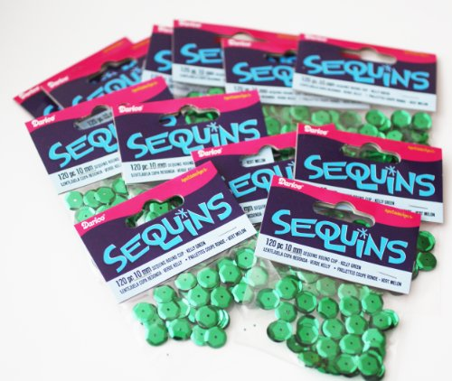 BULK CRAFT SEQUINS 10mm cup ~ KELLY GREEN ~ 1440 pieces (12 packs, 120 per pack) (Kelly Cup compare prices)