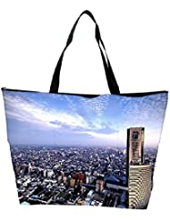Snoogg Abstract Big City Designer Waterproof Bag Made Of High Strength Nylon