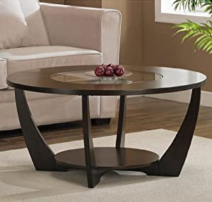 Archer rich espresso coffee table wood glass - Glass centre table for living room ...