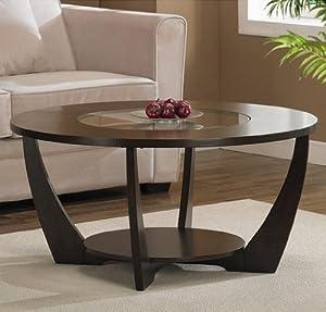 Archer Rich Espresso Coffee Table Wood Glass Center Foot Glide L