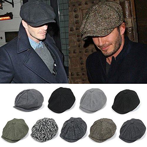 Unisex Winter Warm Baker Boy Newsboy Flat Cap Cheviot Tweed Beret Ivy Cabbie Cap Hat 6