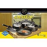 Royal Cook Chateau Collection Heavy Gauge Aluminum 8 Piece Cookware Set, Grey